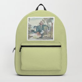 Castiel Pinup on a Dinosaur Backpack