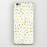 gold dots iPhone & iPod Skins featuring Gold Dots by Laura Maria Designs