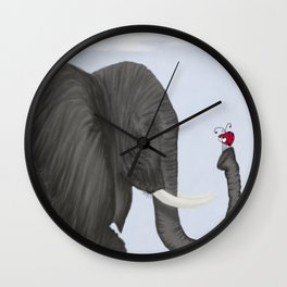 Bertha The Elephant And Her Visitor Wall Clock