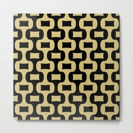 Mid Century Modern Ogee Pattern 339 Black and Gold Metal Print