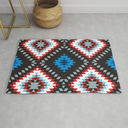 Colorful patchwork mosaic oriental kilim rug with traditional folk geometric ornament. Tribal style Rug