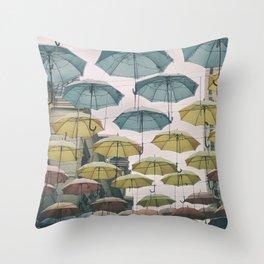 Umbrellas in the sky Throw Pillow