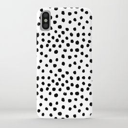 Preppy black and white dots minimal abstract brushstrokes painting illustration pattern print iPhone Case