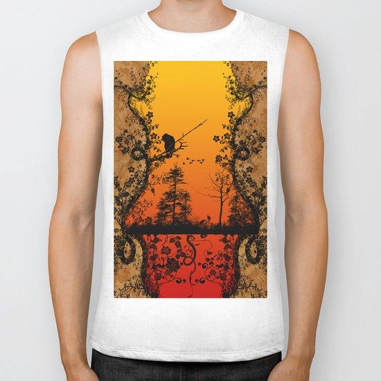 Trees and birds  Biker Tank