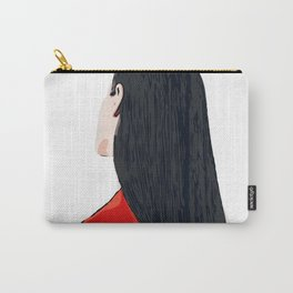 White and Red Girl with Long Hair Minimalist Vector Illustration Portrait Carry-All Pouch