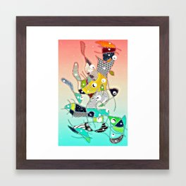 Several Animls Bathing In a River Framed Art Print