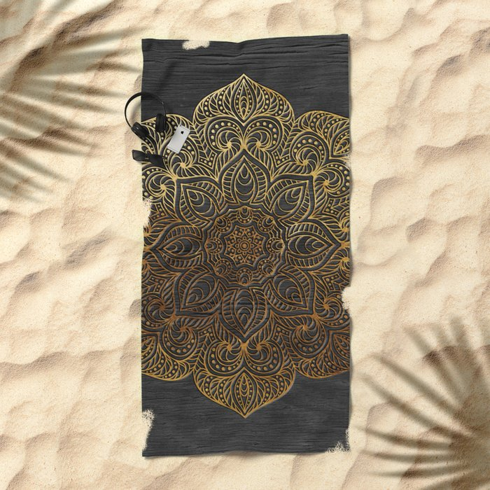 Wood Mandala - Gold Beach Towel