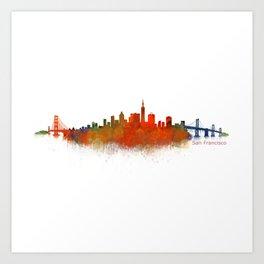 San Francisco City Skyline Hq v2 Art Print