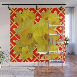 Red Pattern Yellow Daffodils Art Design Wall Mural