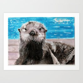 My Otter painting by Karen Chapman Art Print