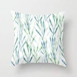 Watercolor Reeds Throw Pillow