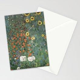 FARM GARDEN WITH SUNFLOWERS - GUSTAV KLIMT Stationery Cards