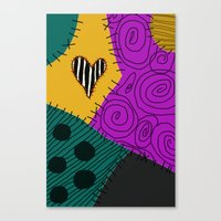 nightmare before christmas Canvas Prints featuring Sally - Nightmare Before Christmas by Lea Bostwick