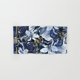 Navy Blue & Gold Watercolor Floral Hand & Bath Towel
