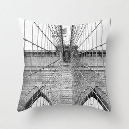 Black and white Brooklyn Bridge   travel photography New York city USA art print Throw Pillow