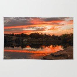 Sunset at Halibut Point Quarry Rug