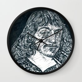 RENE DESCARTES ink portrait Wall Clock