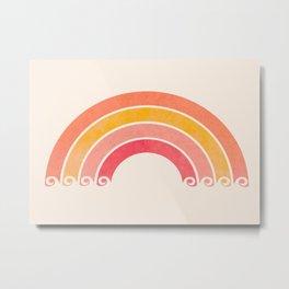 Whimsical Vintage Rainbow Waves Metal Print