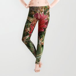 Red Cactus Blossoms Leggings
