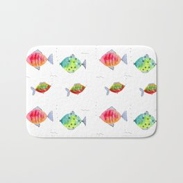 Whimsical fishes watercolor pattern Bath Mat