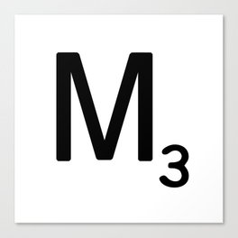 Letter M - Custom Scrabble Letter Tile Art - Scrabble M Initial Canvas Print