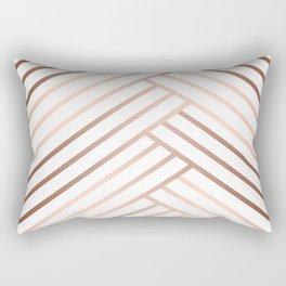 Simple pattern . Beige, brown diagonal lines on white. Rectangular Pillow