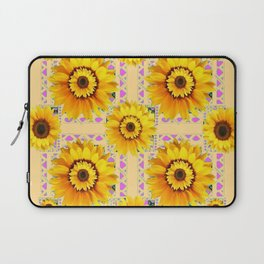 CREAM COLOR WESTERN STYLE YELLOW SUNFLOWERS Laptop Sleeve