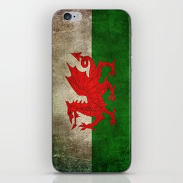 Old and Worn Distressed Vintage Flag of Wales iPhone Skin