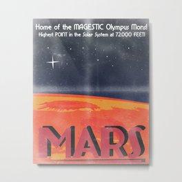 Retro Mars Travel Poster Metal Print