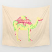 camel Wall Tapestries featuring Lettering Camel by Mariana Beldi