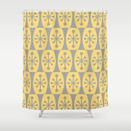 Mid Century Modern Atomic Fusion Pattern 332 Yellow and Gray Shower Curtain