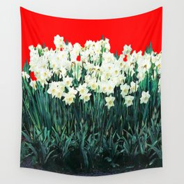 Red Whites Daffodils/Narcisus Spring Blue-Green Garden Wall Tapestry