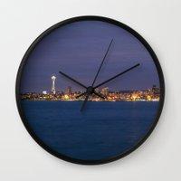 seattle Wall Clocks featuring Seattle by Ren Davis