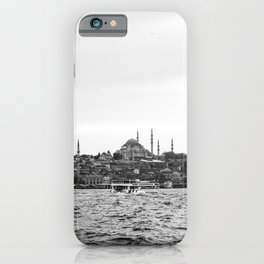 Turkish Landscape | Istanbul Turkey Landscape Photograph High Contrast Black and White City Skyline iPhone Case