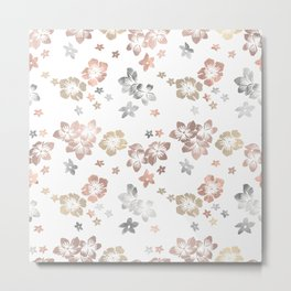 Rose Gold Copper Bronze Tropical Flowers Multi Metallic Metal Print