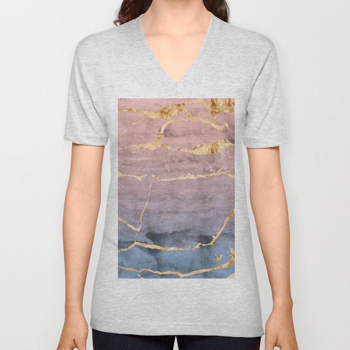 Watercolor Gradient Gold Foil Unisex V-Neck