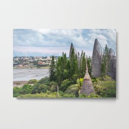 Tjibaou Cultural Centre on the seashore at low tide in Noumea. Metal Print