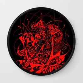 Filanes-45 deep red Wall Clock