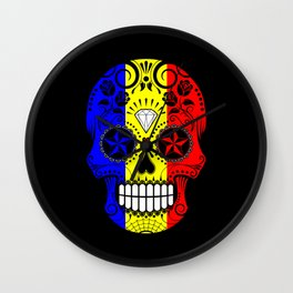 Sugar Skull with Roses and Flag of Romania Wall Clock