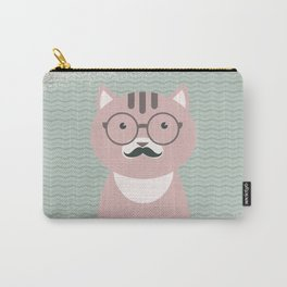 Clever Cat Hipster Mustache Character Carry-All Pouch