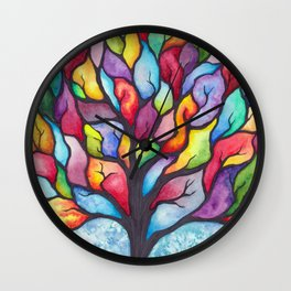 Watercolor Mosaic Tree Wall Clock