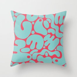 teal & red blobs Throw Pillow
