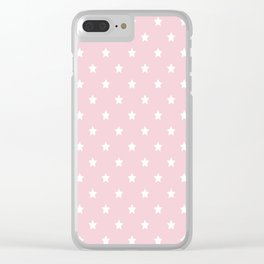 Pastel Pink Star Pattern Clear iPhone Case