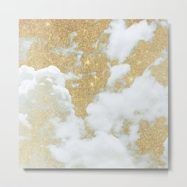Abstract white faux gold glitter clouds pattern Metal Print