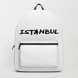 'Istanbul' Turkey Hand Letter Type Word Black & White Backpack