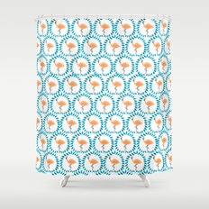 Flamingo and Leaves Shower Curtain
