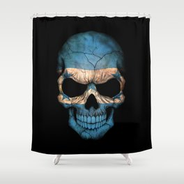 Dark Skull with Flag of Honduras Shower Curtain