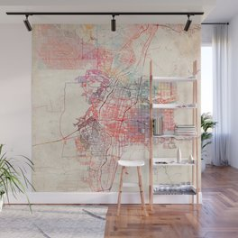 Albuquerque map New Mexico painting square Wall Mural