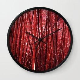 Red Bamboo Wall Clock