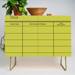 LiBRARY BOOK CARD (lime) Credenza